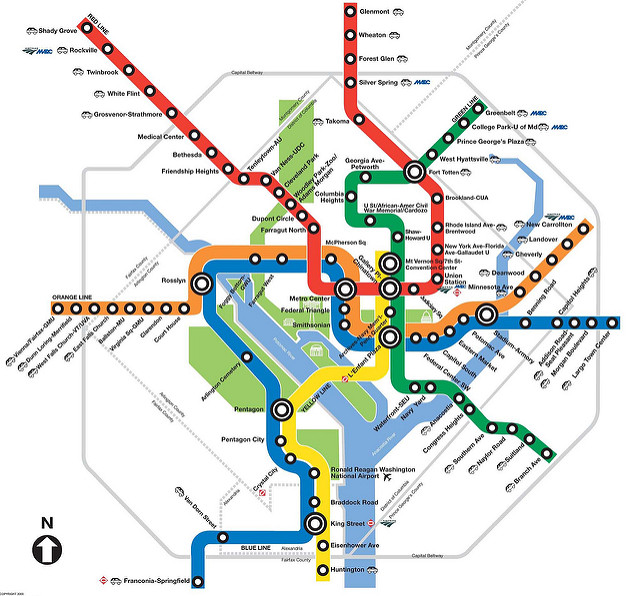 Map of all the lines on the DC metro