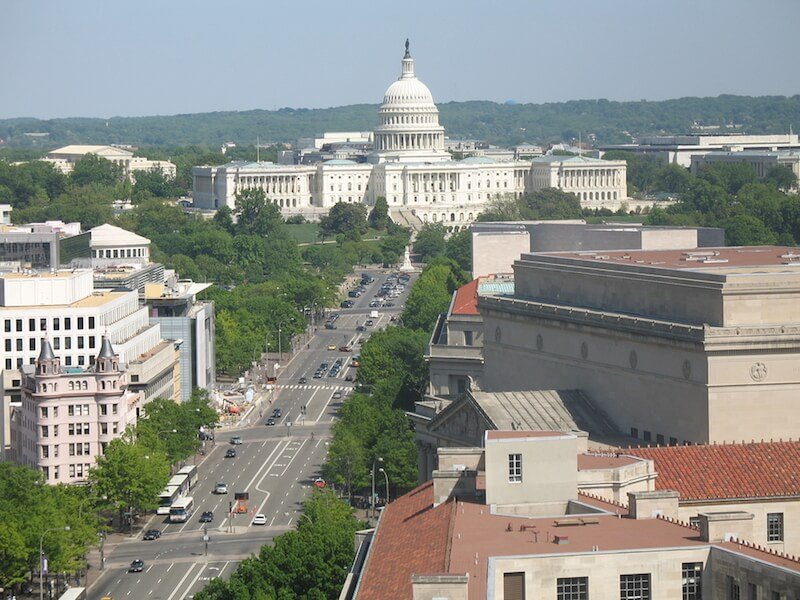 bird eye view of washington dc