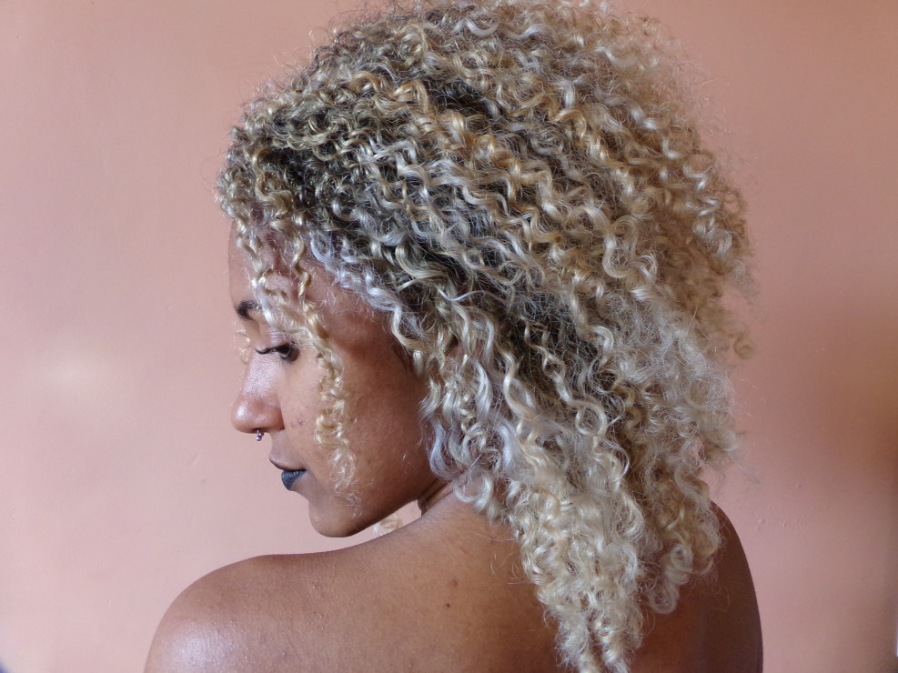 woman with beautifully dyed curly hair