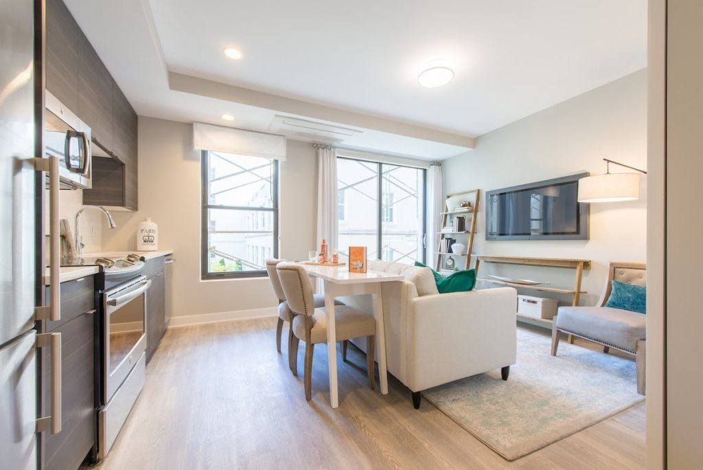 Modern kitchen space in one of our Vintage apartment units in Washington, DC