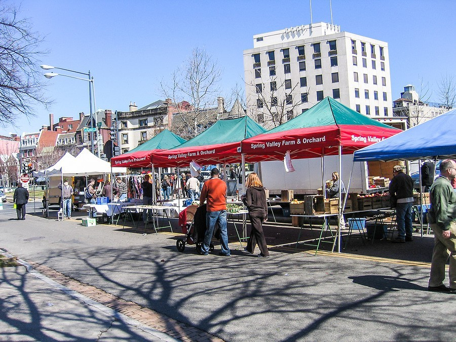 Farmer's market and other vendors in Dupont Circle in Washington, DC