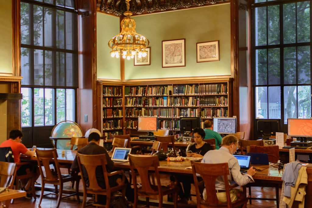 Students studying in Cleveland Park Library, Washington DC.