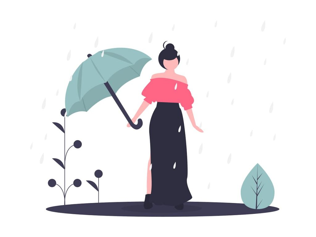 woman looking flustered and dainty in the rain