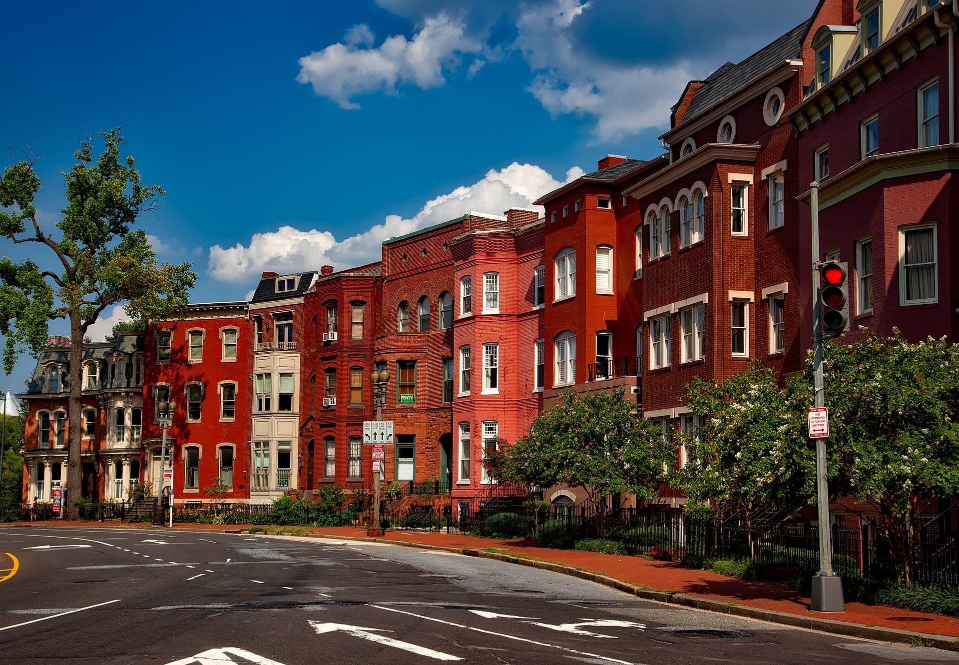 Washington, D.C. red brick rowhouses on sunny day