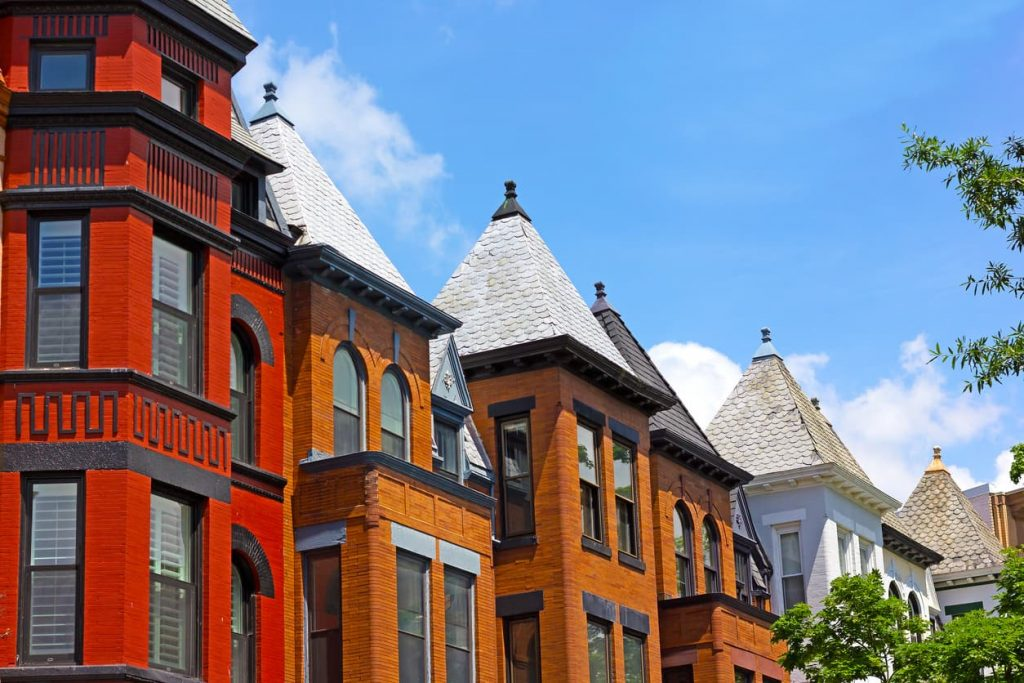 mid-low-angle-view-of-row-houses-in-washington-dc-woodley-park-on-sunny-day