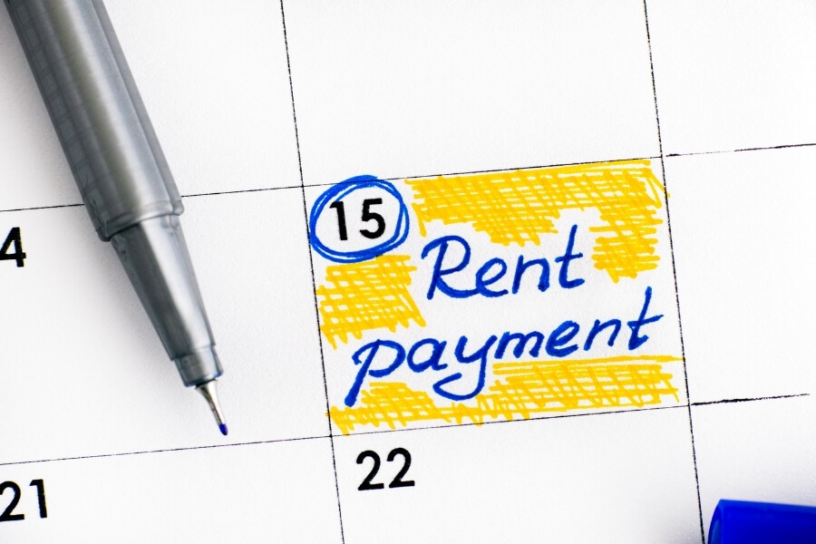 calendar marked to pay rent on time